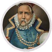 Portrait Of Tycho Brahe Round Beach Towel