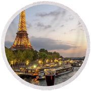 Portrait View Of The Eiffel Tower At Night With Wine Glass In The Foreground Round Beach Towel