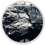 Post Falls Park In Snow  Round Beach Towel