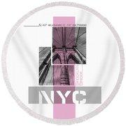 Poster Art Nyc Brooklyn Bridge Details - Pink Round Beach Towel