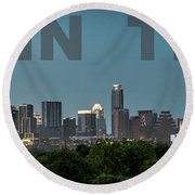 Poster Of Downtown Austin Skyline Over The Green Trees Round Beach Towel