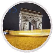 Poster Of The Arch De Triumph With The Eiffel Tower In The Picture Round Beach Towel
