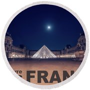 Poster Of  The Louvre Museum At Night With Moon Above The Pyrami Round Beach Towel