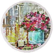 Potted Roses With Candle Round Beach Towel