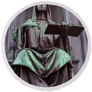 Prague Statue Round Beach Towel