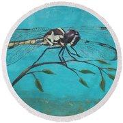 Praying Dragonfly Round Beach Towel