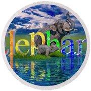 Precious E Is For Elephant Round Beach Towel