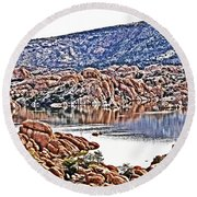 Prescott Arizona Watson Lake Rocks, Hills Water Sky Clouds 3122019 4867 Round Beach Towel