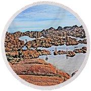 Prescott Arizona Watson Lake Rocks, Hills Water Sky Clouds 3122019 4870 Round Beach Towel