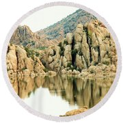 Prescott Arizona Watson Lake Water Mountains Lake Rocks Sky Reflections 4831 Round Beach Towel