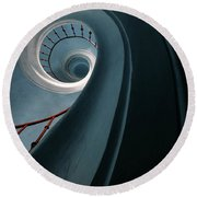 Pretty Blue Spiral Staircase Round Beach Towel