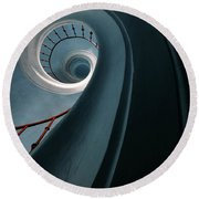 Pretty Blue Spiral Staircase Round Beach Towel