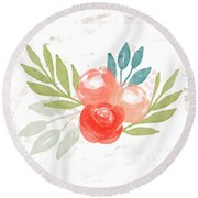 Pretty Coral Roses - Art By Linda Woods Round Beach Towel