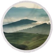 Pretty Morning In Toscany Round Beach Towel