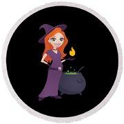 Pretty Witch With Cauldron Round Beach Towel