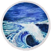 Promethea Ocean Triptych 1 Round Beach Towel