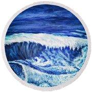 Promethea Ocean Triptych 2 Round Beach Towel