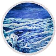 Promethea Ocean Triptych 3 Round Beach Towel
