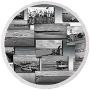 Provincetown Cape Cod Massachusetts Collage Bw 02 Round Beach Towel