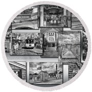 Provincetown Cape Cod Massachusetts Collage Pa Bw Round Beach Towel