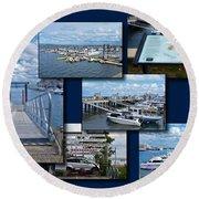 Provincetown Marina Cape Cod Massachusetts Collage Round Beach Towel