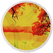 Psychedelic Lake Round Beach Towel
