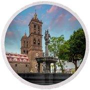Puebla Zocalo And Cathedral Round Beach Towel