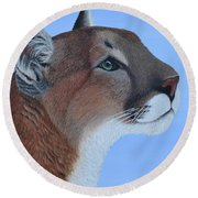 Puma Round Beach Towel by Tracey Goodwin