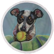 Puppy With Tennis Ball Round Beach Towel