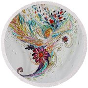 Pure Abstract #4. Trumpeting Angel Round Beach Towel