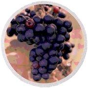 Purple Grape Bunches 18 Round Beach Towel