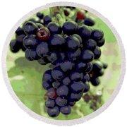 Purple Grape Bunches 19 Round Beach Towel