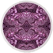Purple Lilac Gardens And Reflecting Pools Fractal Abstract Round Beach Towel by Rose Santuci-Sofranko