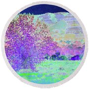 Purple Tree Reverie Round Beach Towel