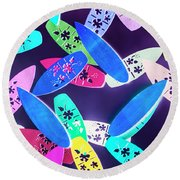 Purple Waters Round Beach Towel