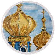 Pushkin Palace Towers Round Beach Towel by Maria Langgle