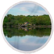 Quiet Evening By The River Round Beach Towel by Michael Hope