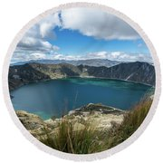 Quilotoa Crater Lake Round Beach Towel