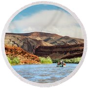 Rafting On The San Juan River Round Beach Towel