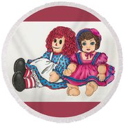 Raggedy Ann And Friend  Round Beach Towel