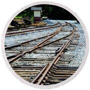 Railroad Siding Tracks Round Beach Towel