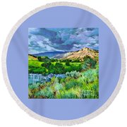 Rain Clouds On The Way To Sweetwater Round Beach Towel
