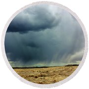 Rain Down On Parched Fields  Round Beach Towel