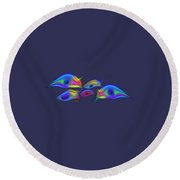 Rainbow Blue Fish Round Beach Towel