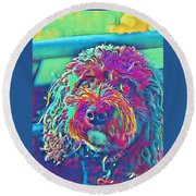 Rainbow Pup Round Beach Towel