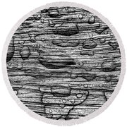 Raindrops On Wood, California, Usa Round Beach Towel