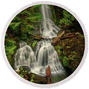 Rainier Falls Creek Falls Round Beach Towel