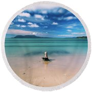 Raspins Beach In Orford On The East Coast Of Tasmania. Round Beach Towel