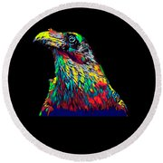 Raven Head Weird Bird Lucky Vintage Design Round Beach Towel