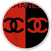 Red And Black Chanel Round Beach Towel